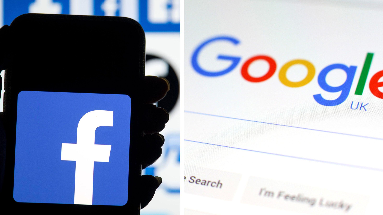 Die Logos der Konzerne Facebook und Google (Symbolbild)