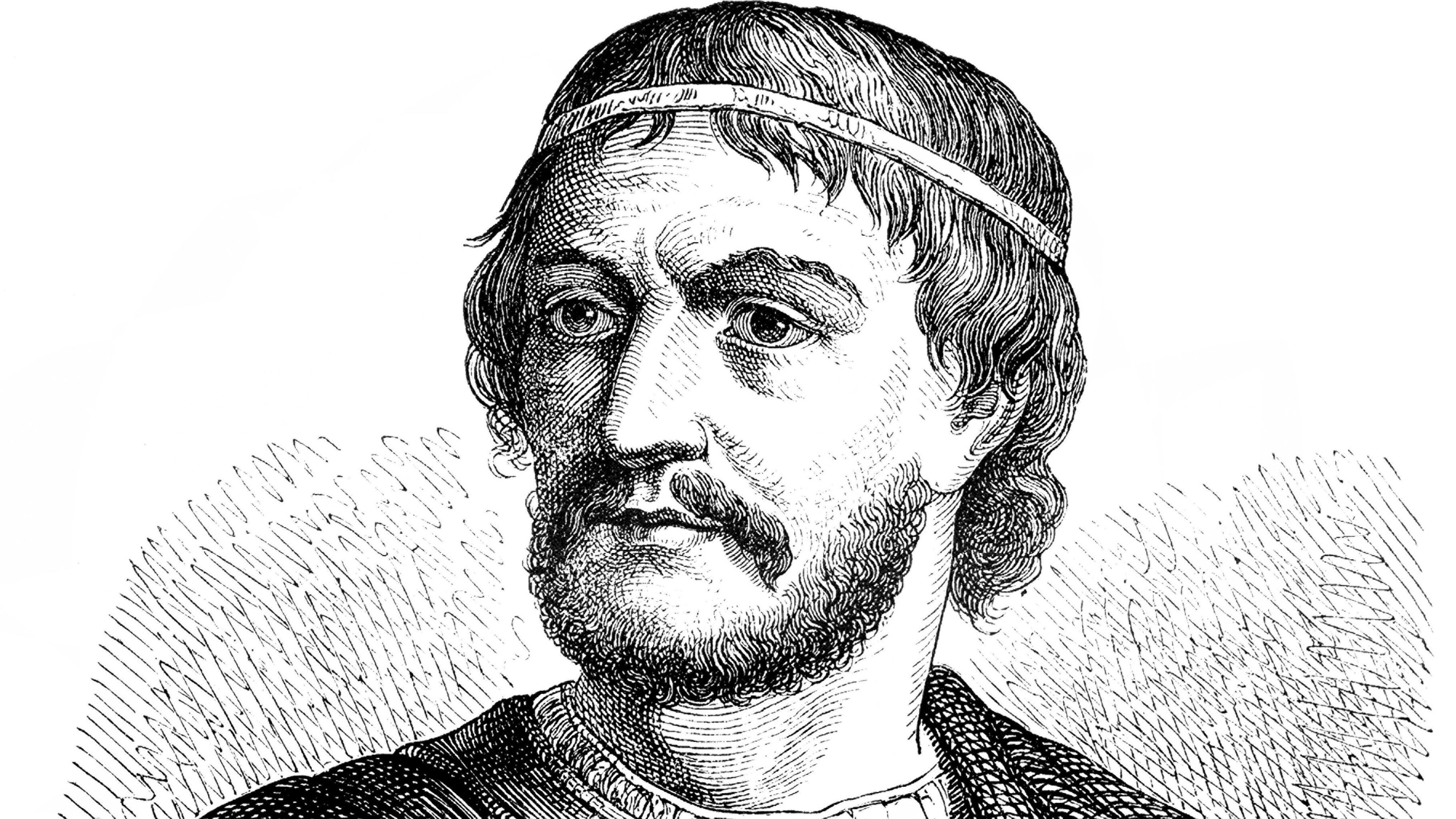 Portrait von Karl Martell, historische Zeichnung aus dem 19. Jahrhundert.