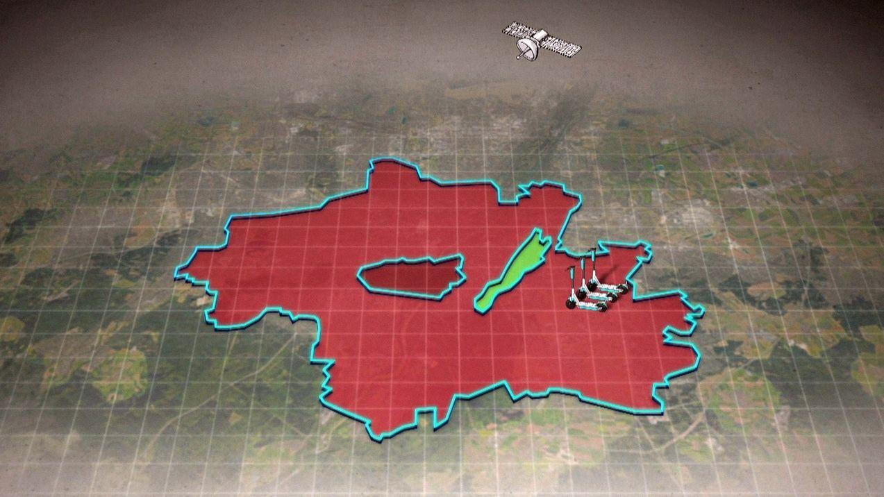 Grafik mit einer durch Geofencing gesetzten Zone, die die Benutzung von E-Rollern regelt.