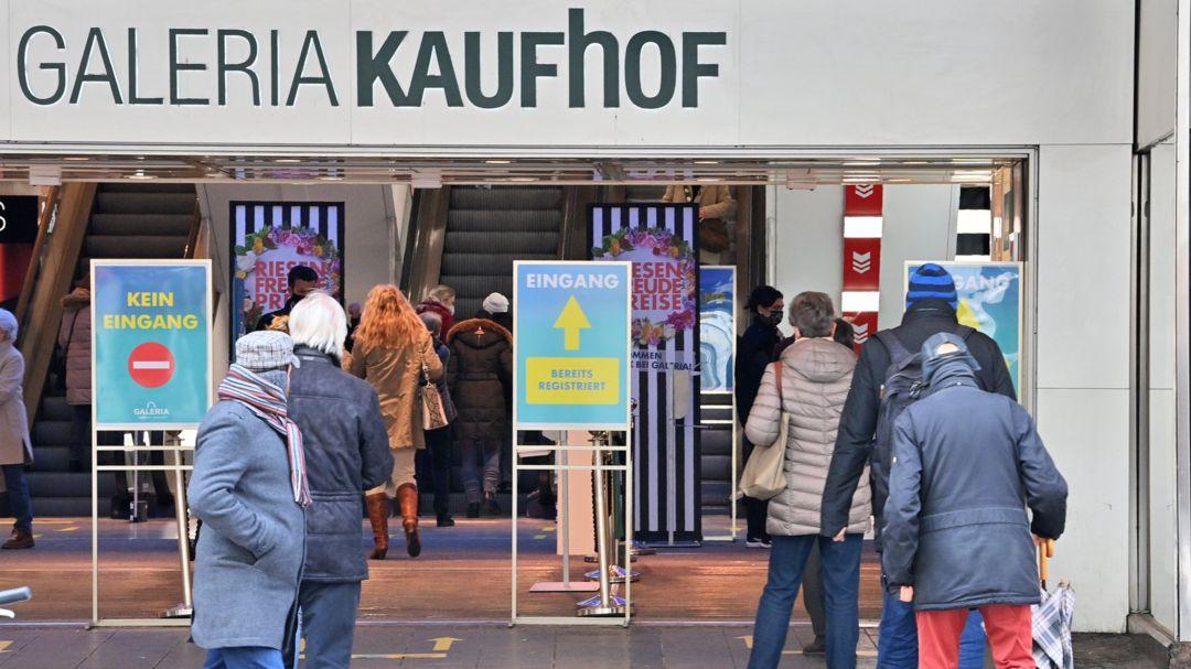 Eingang Galeria Karstadt Kaufhof in Coronazeiten