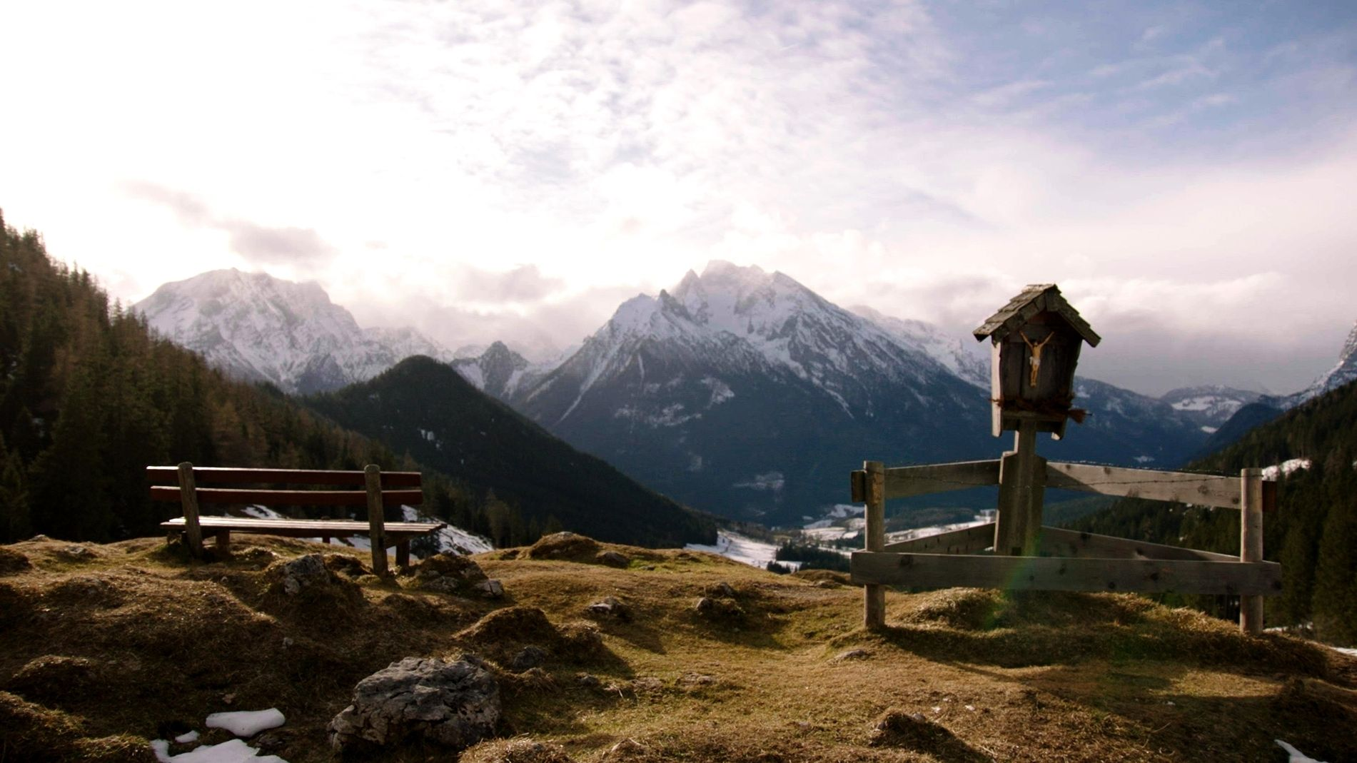 Blick auf die Alpen in der Nähe von Ramsau.