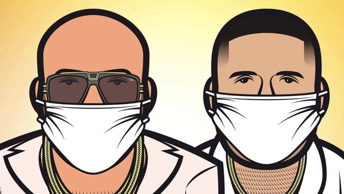 Comic-Zeichnung der Rapper Xatar und SSIO, jeweils mit Mund-Nase-Schutz im Gesicht.