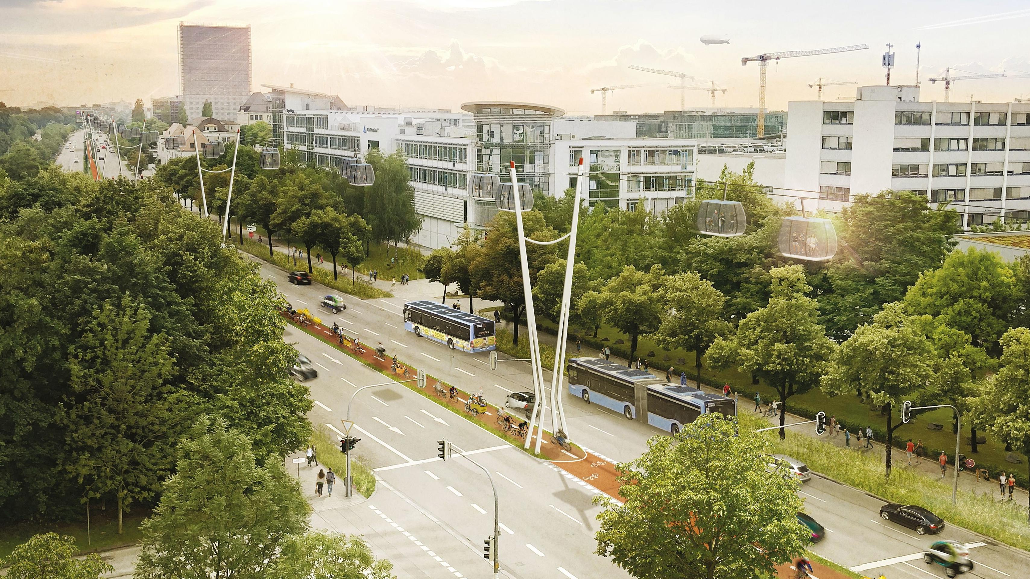Ideenskizze zur möglichen Seilbahn in München