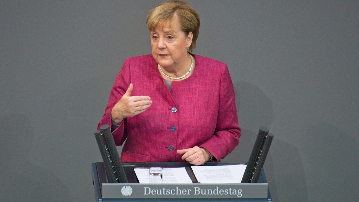 Bundeskanzlerin Merkel (CDU) bei der Generaldebatte des Bundestags am 30.9.2020