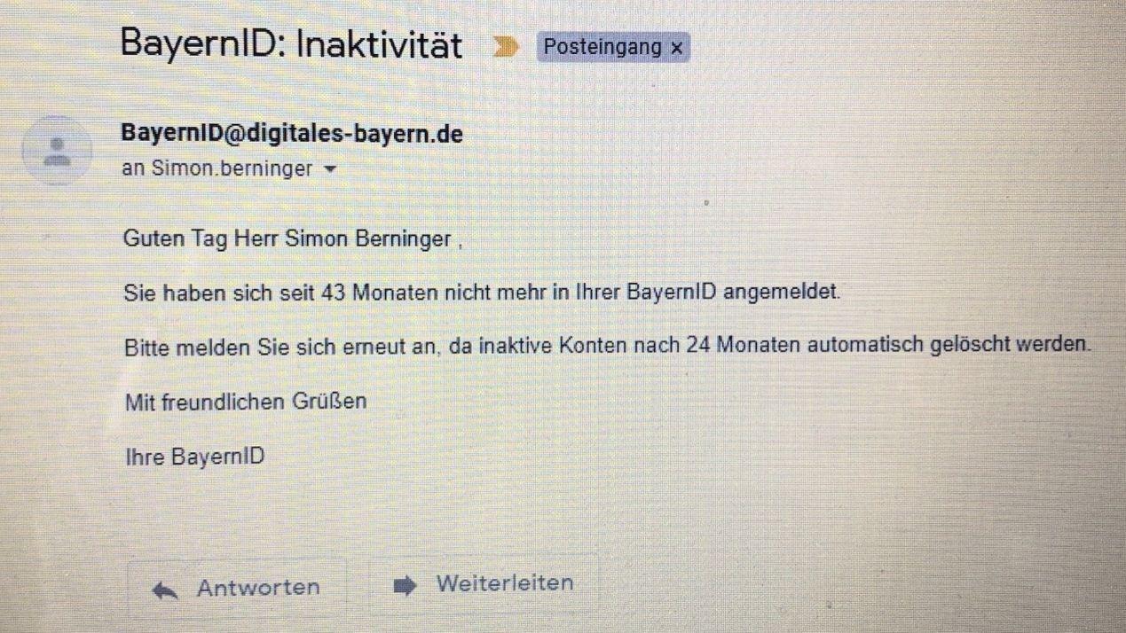 Ein BR24-Kollege wird per Mail aufgefordert, sich bei der BayernID anzumelden.
