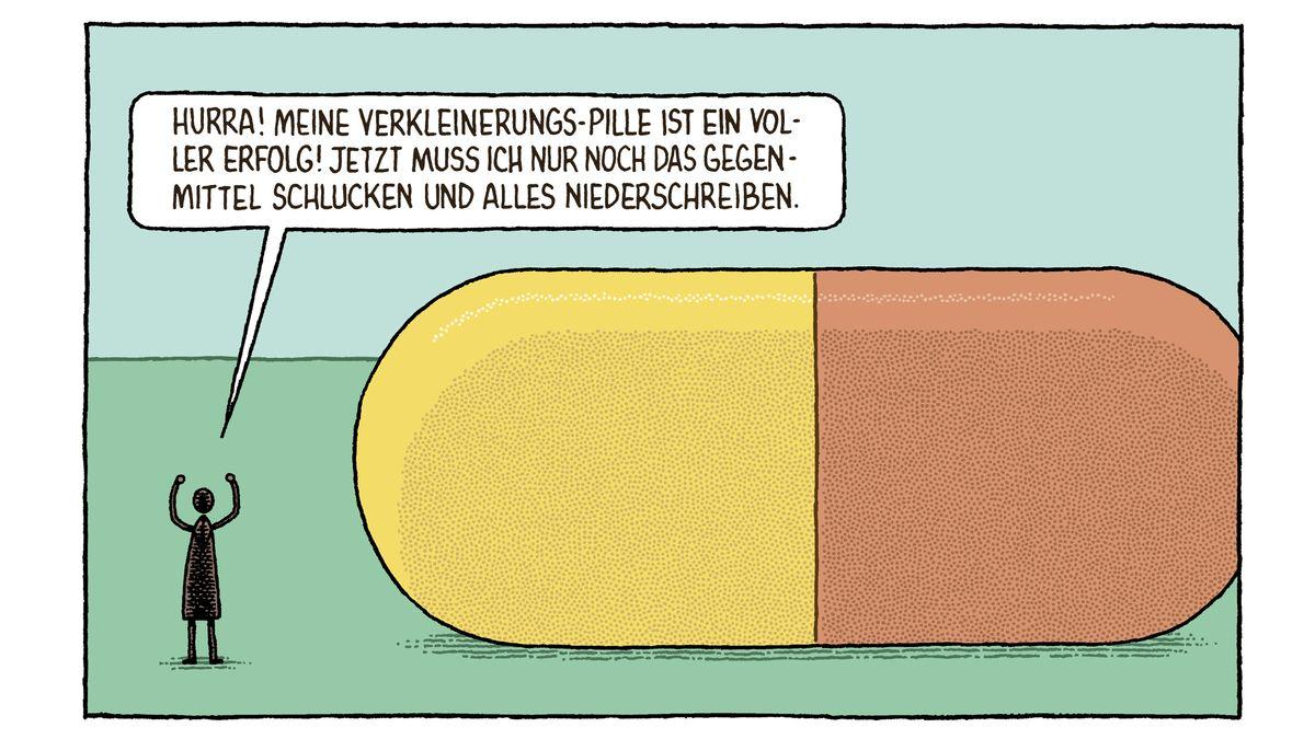 """Ein kleines Menschlein steht neben einer gewaltigen Pille - Ausschnitt aus Tom Gaulds """"Abteilung für irre Theorien"""""""