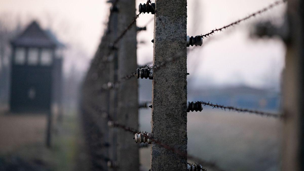 Stacheldrahtzäune und ein Wachturm des früheren Vernichtungslagers Auschwitz-Birkenau sind am frühen Morgen zu sehen.