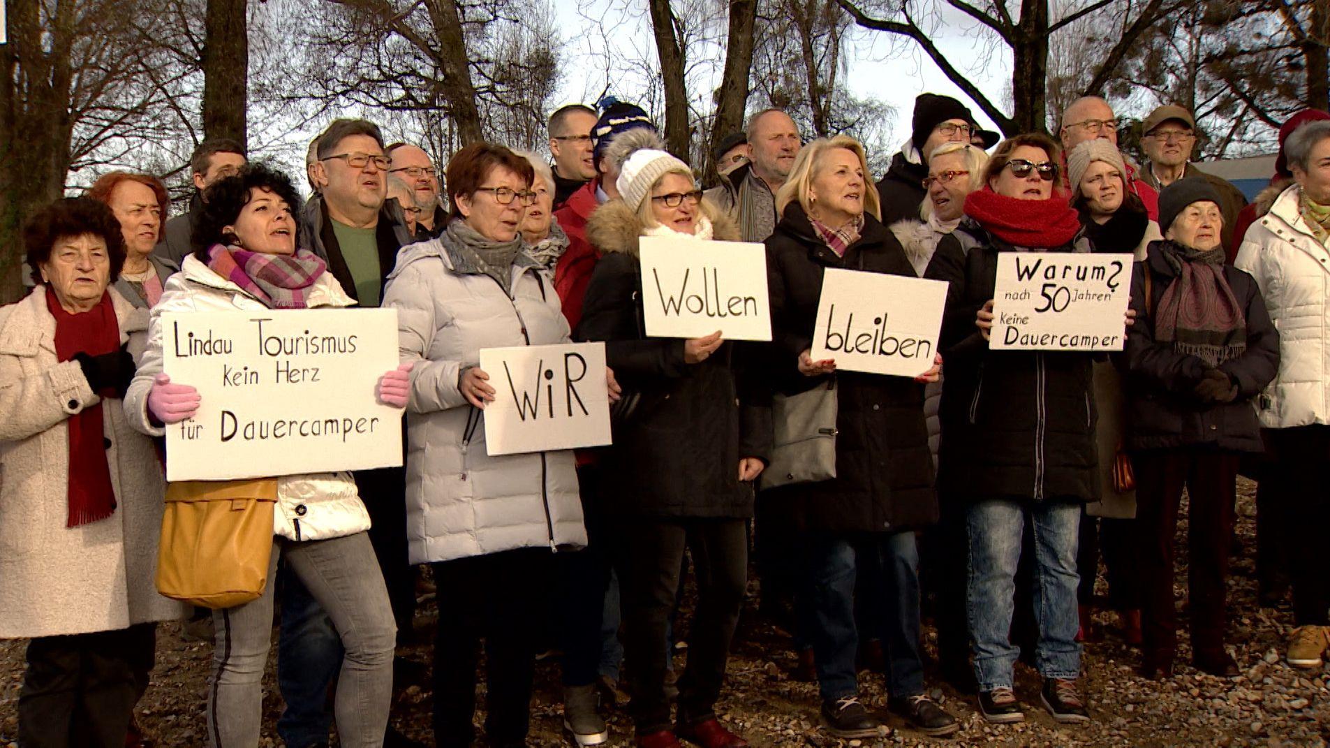 Dauercamper protestieren in Lindau
