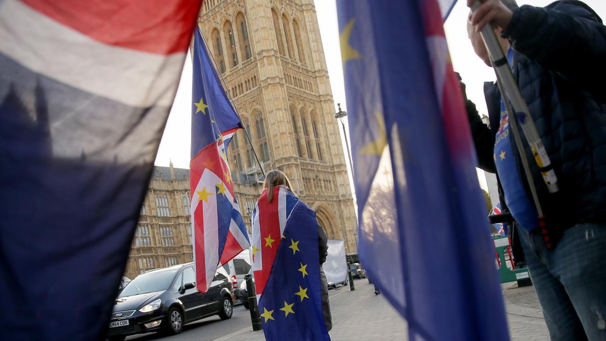 Demonstranten mit Europafahnen vor dem Parlament in London