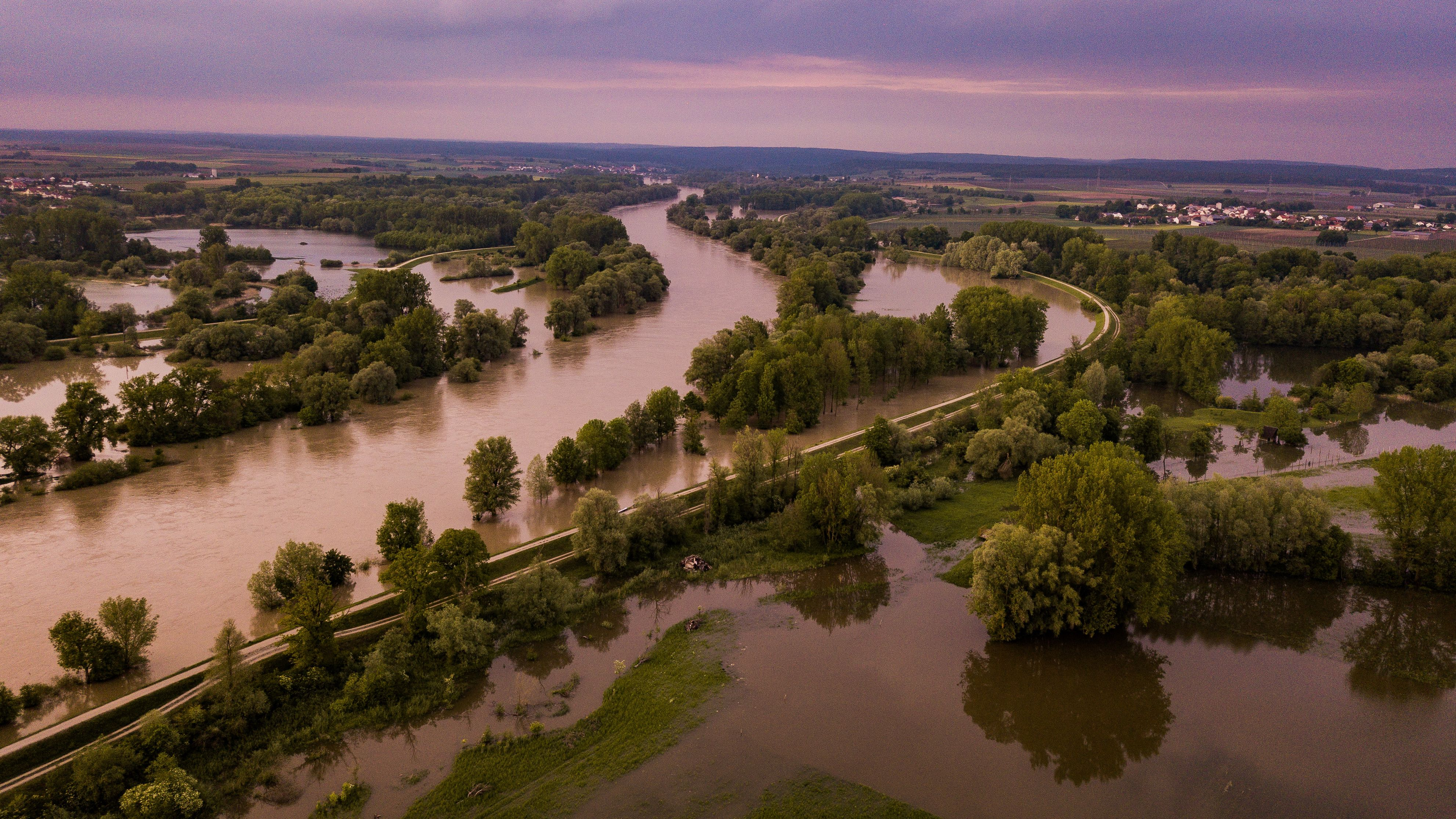 Überschwemmte Wiesen an der Donau bei Kelheim