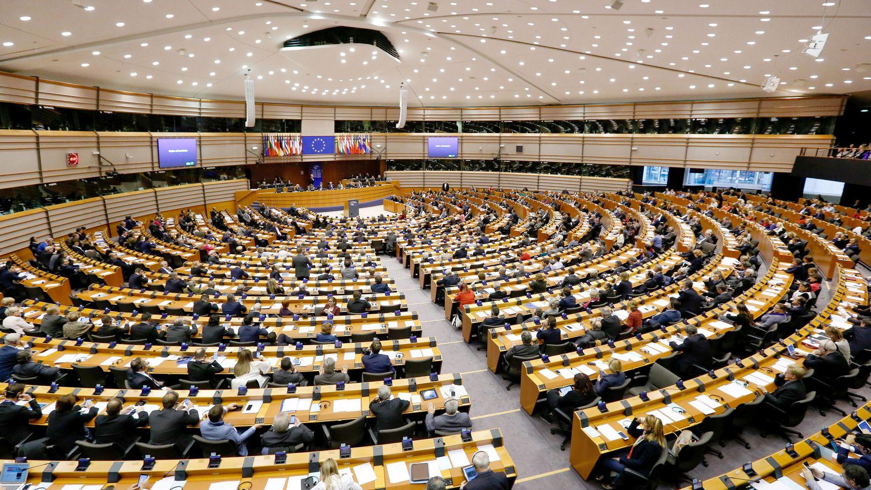Belgien, Brüssel: Blick in das Europaparlament während einer Plenarsitzung