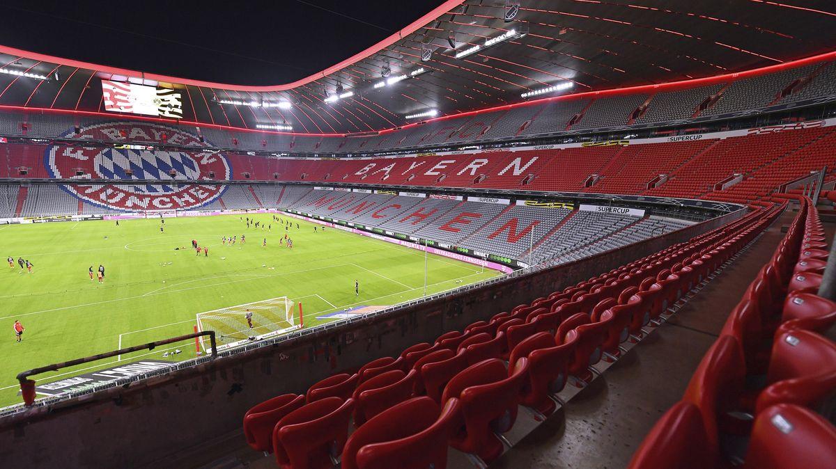 Allianz-Arena in München beim Supercup-Finale am 30. September 2020 ohne Zuschauer.