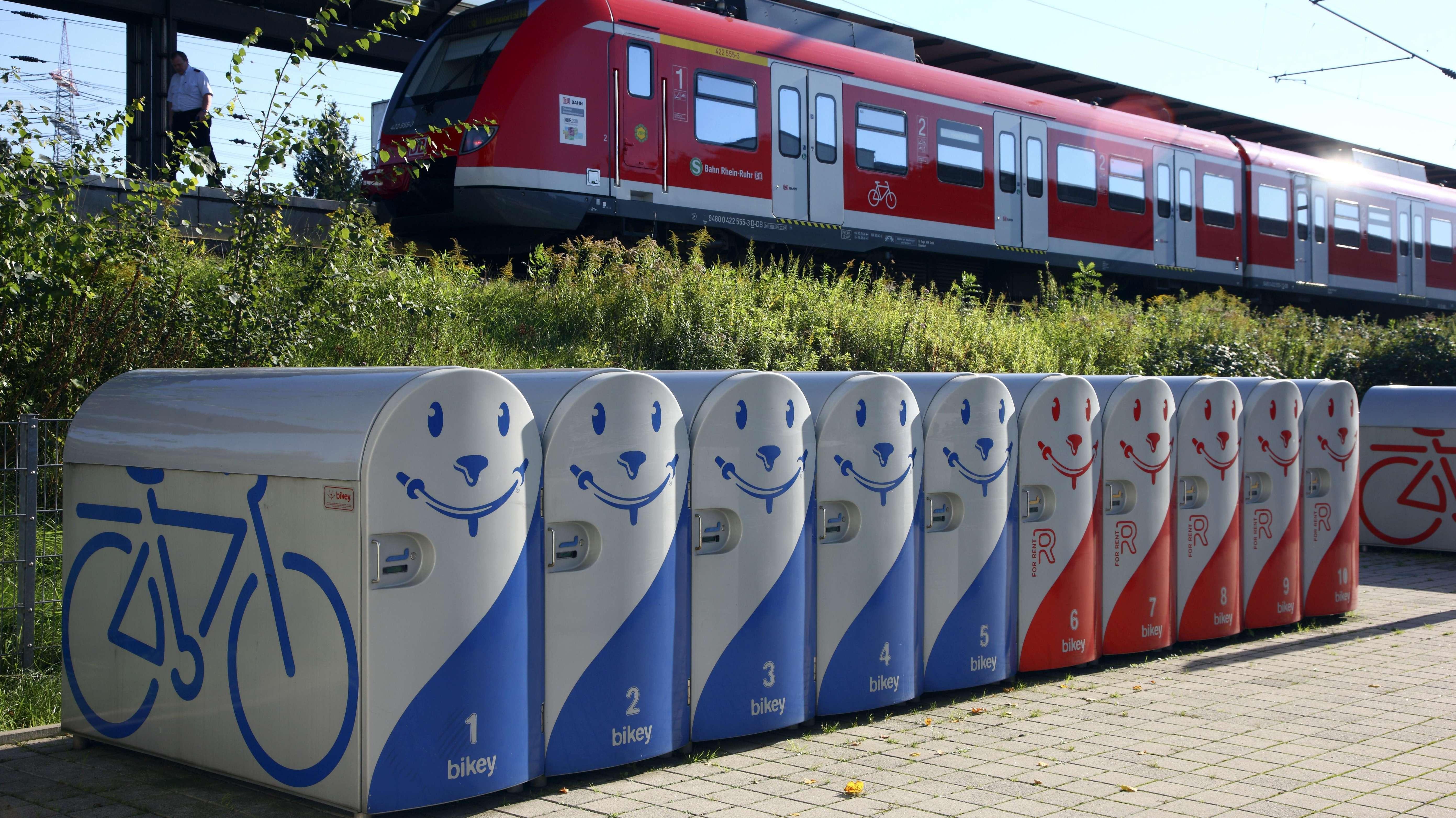 Einstellboxen zum Mieten für sicheres Parken von Fahrrädern