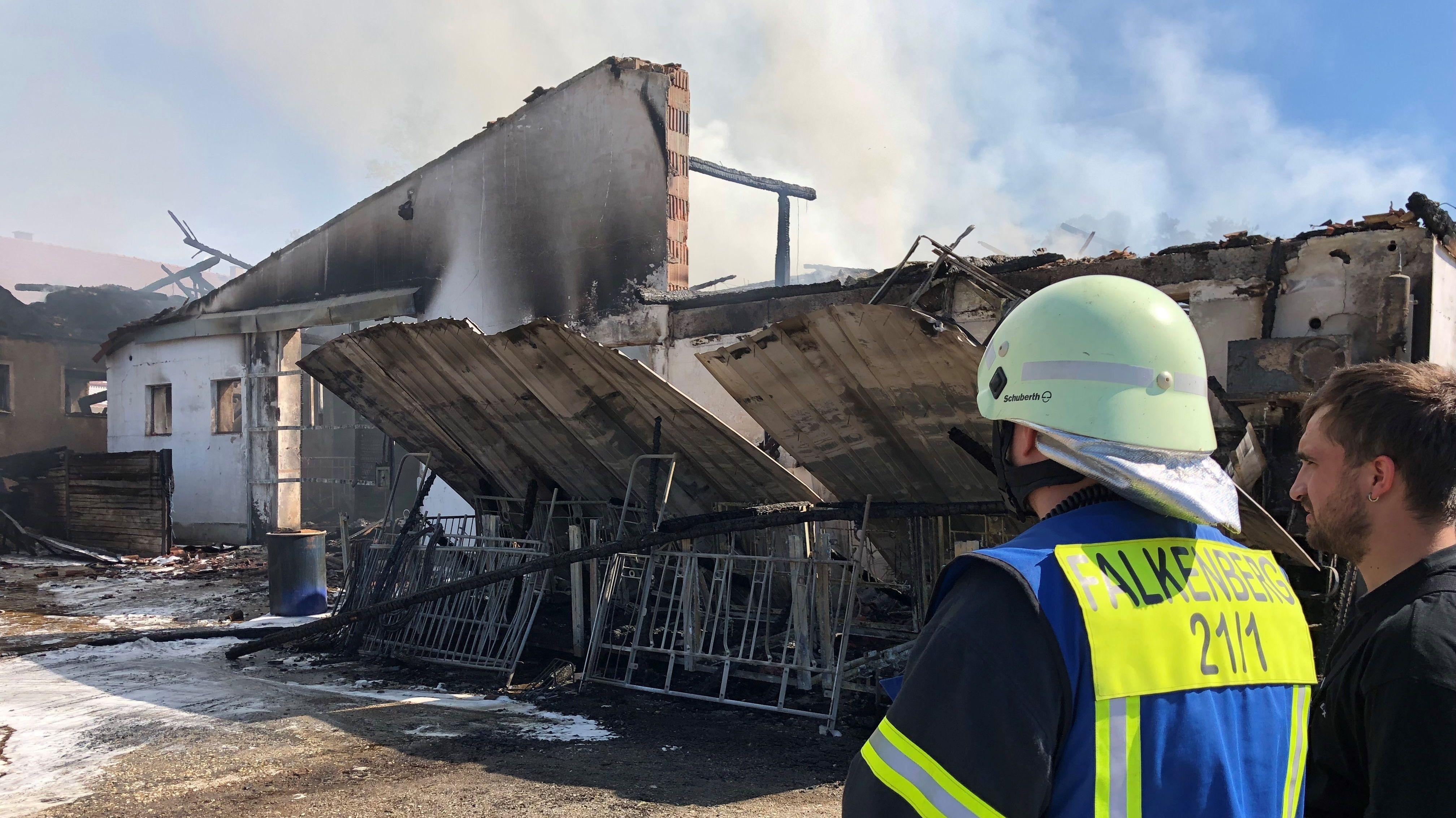 Feuerwehrmänner blicken auf die zerstörten Gebäude.