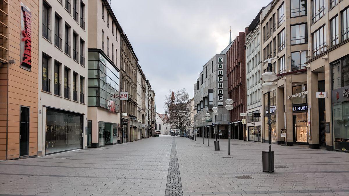 Münchner Fußgängerzone beim Lockdown im Frühjahr
