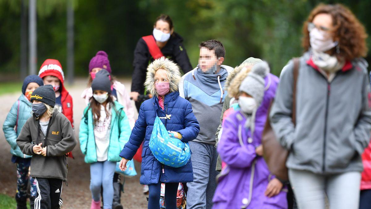 Grundschulklasse bei einer Wanderung, aufgenommen im Oktober 2020.