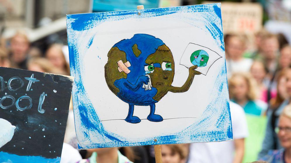 Ein Plakat auf einer Klimademo: Die Erde ist verletzt und weint | Bild:dpa-Bildfunk/ Christophe Gateau