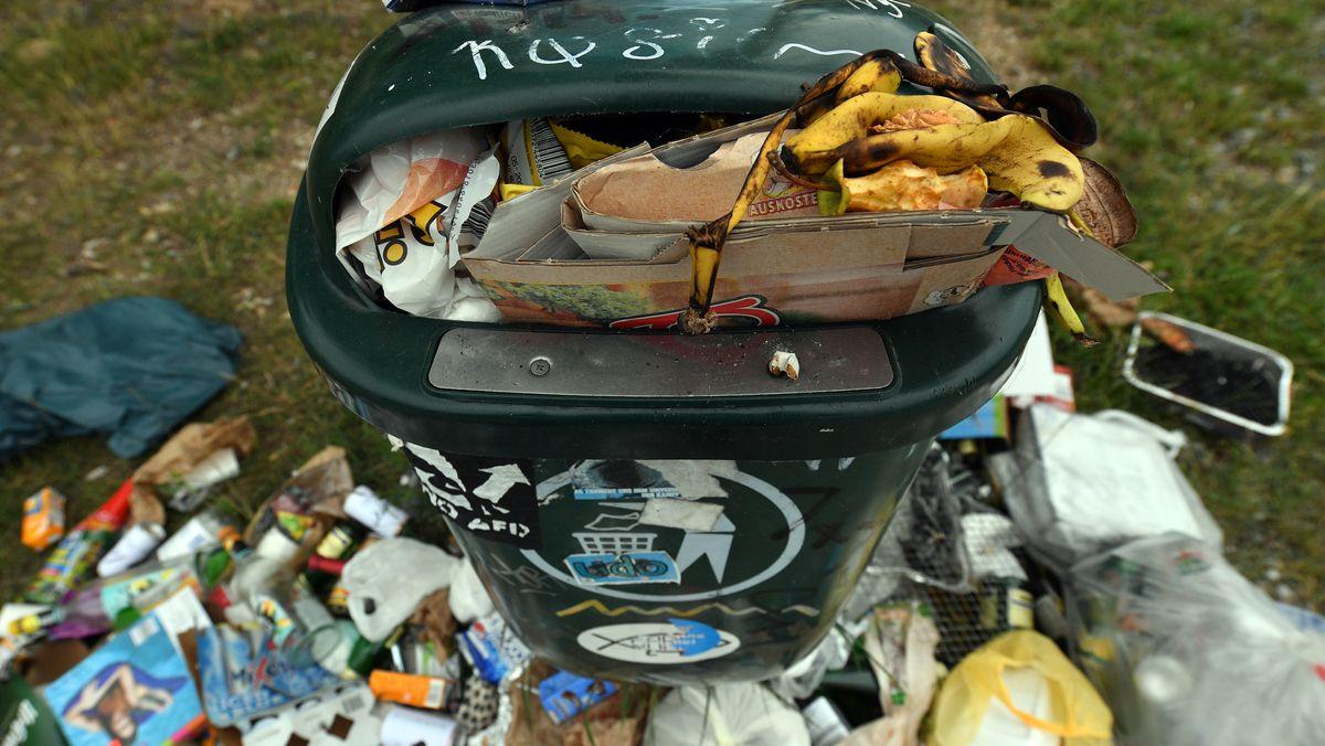 Übervolle Mülltonne mit Abfall auf dem Rasen daneben