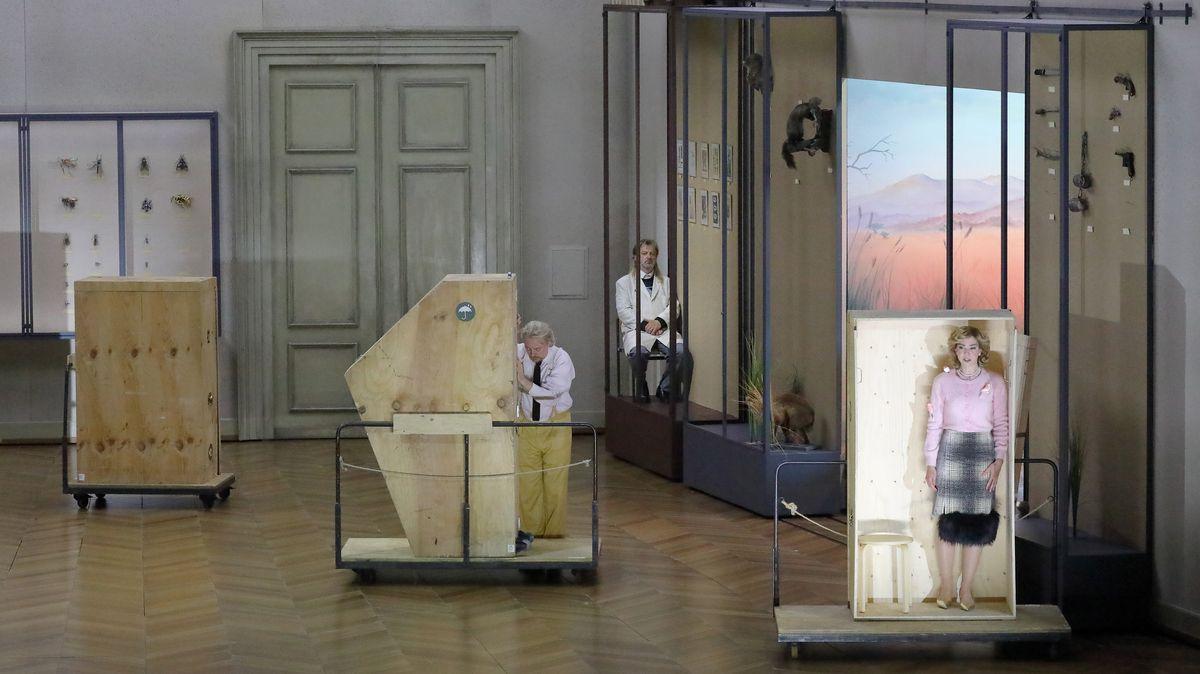 Blick ins Museum mit Vitrinen und Kisten