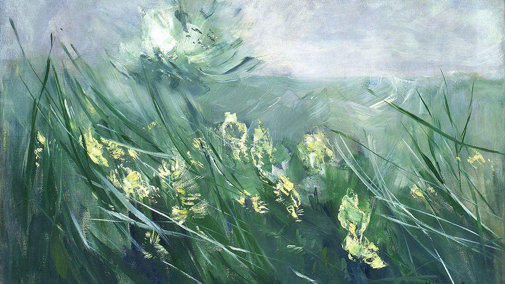 Mit expressivem Pinselstrich gemalte Wiese mit gelben und weißen Blumen