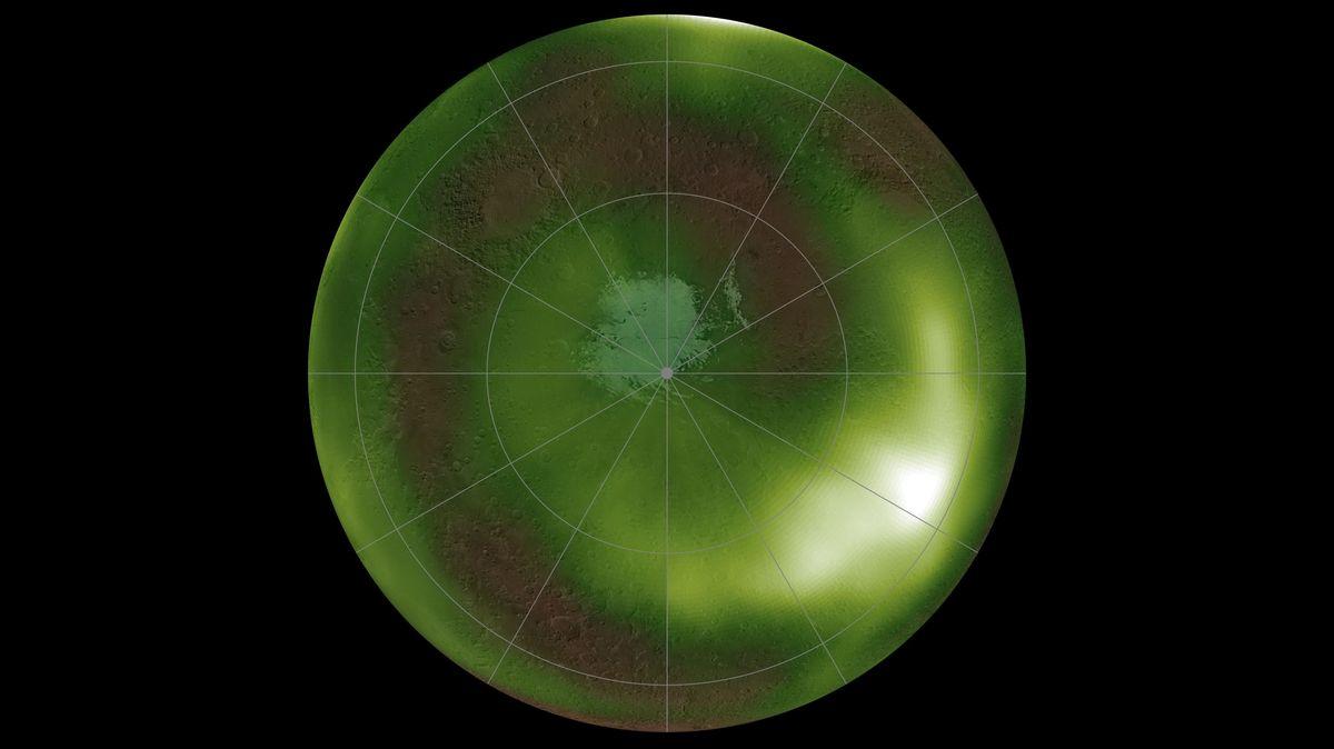 Die Aufnahme zeigt den Airglow des Mars über dem Nordpol des Planeten
