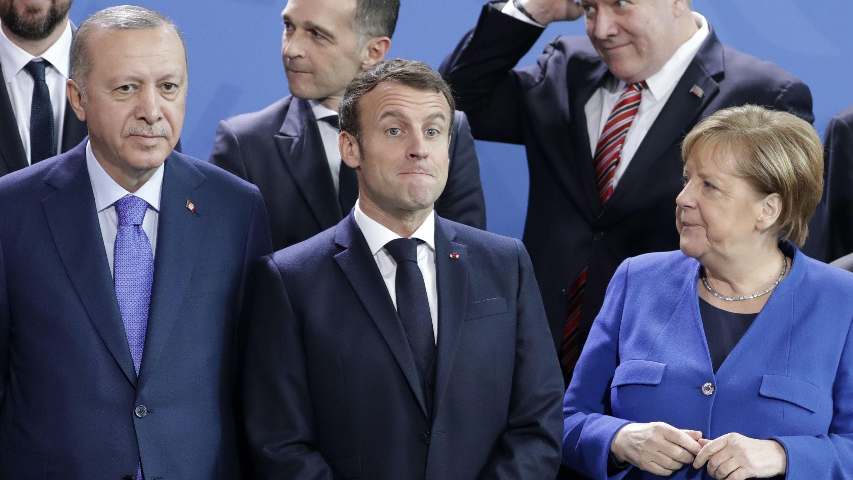 Angela Merkel, Emmanuel Macron und Recep Tayyip Erdogan (v.r.)