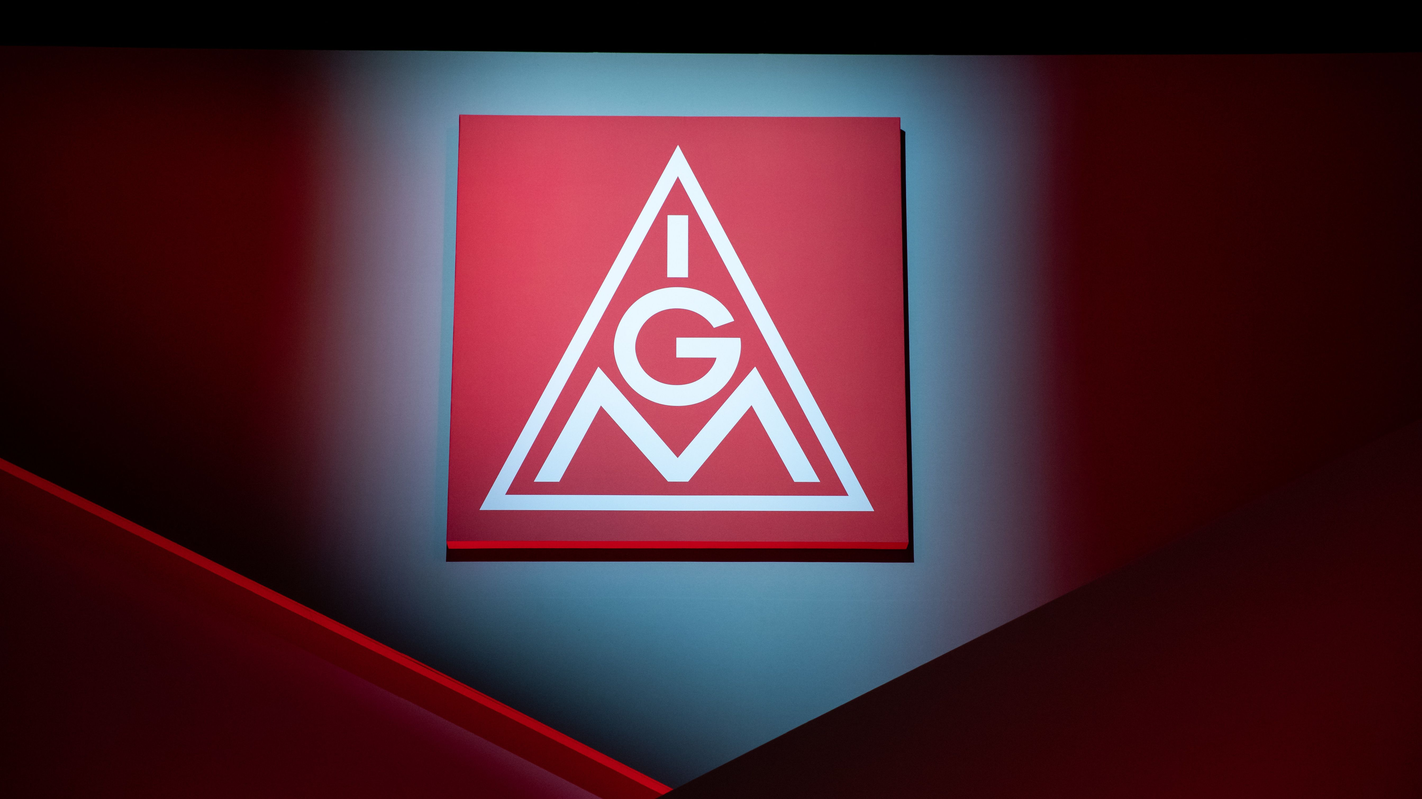 Logo der IG-Metall beim Ordentlichen Gewerkschaftstag 2019
