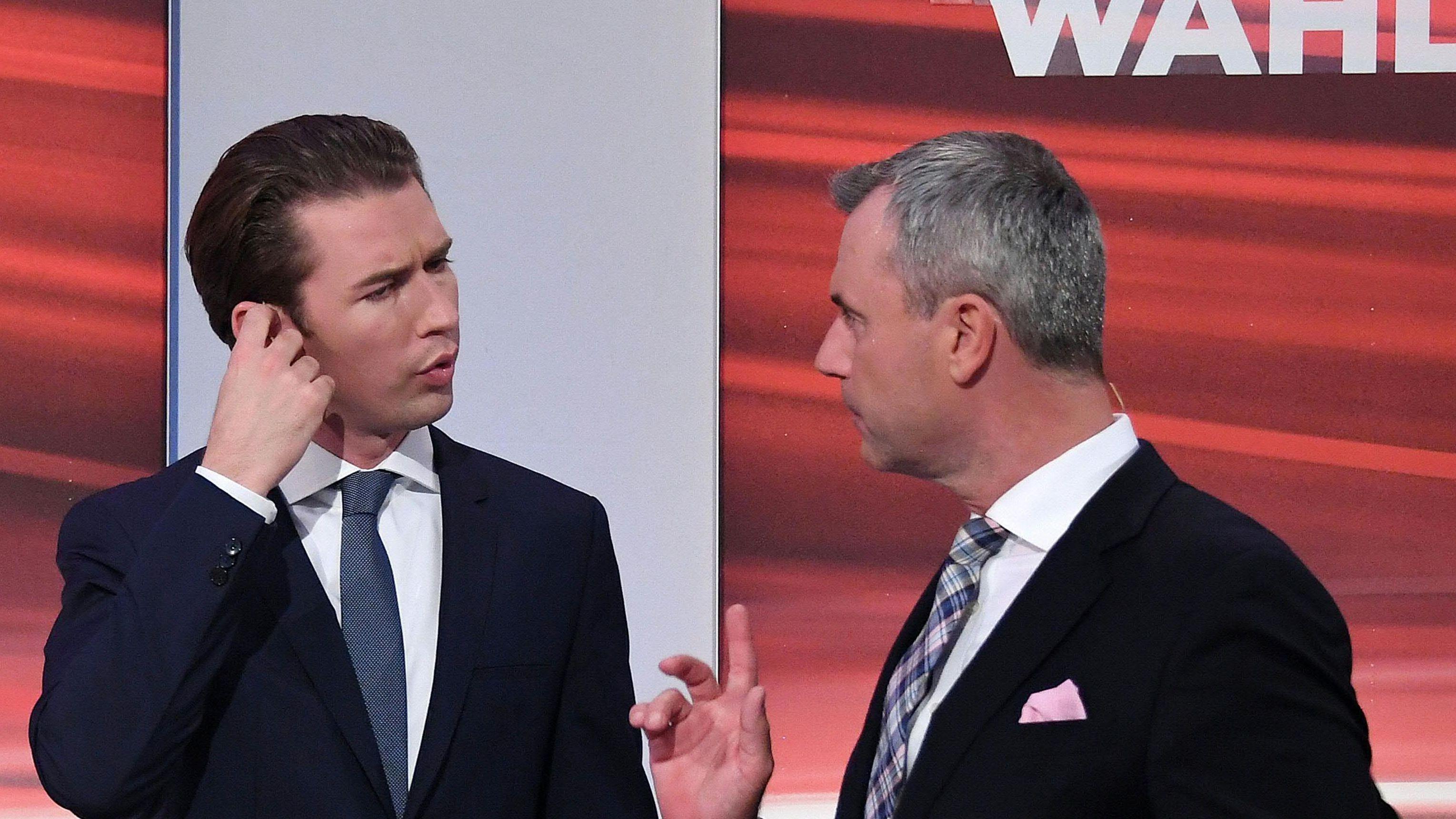 ÖVP-Spitzenkandidat Sebastian Kurz und FPÖ-Spitzenkandidat Norbert Hofer im Rahmen der Nationalratswahl am Sonntag, 29. September 2019, im Medienzentrum in der Hofburg in Wien.