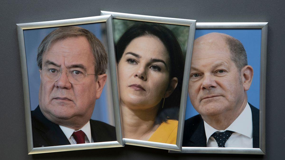 Armin Laschet, Annalena Baerbock, Olaf Scholz (von links nach rechts).
