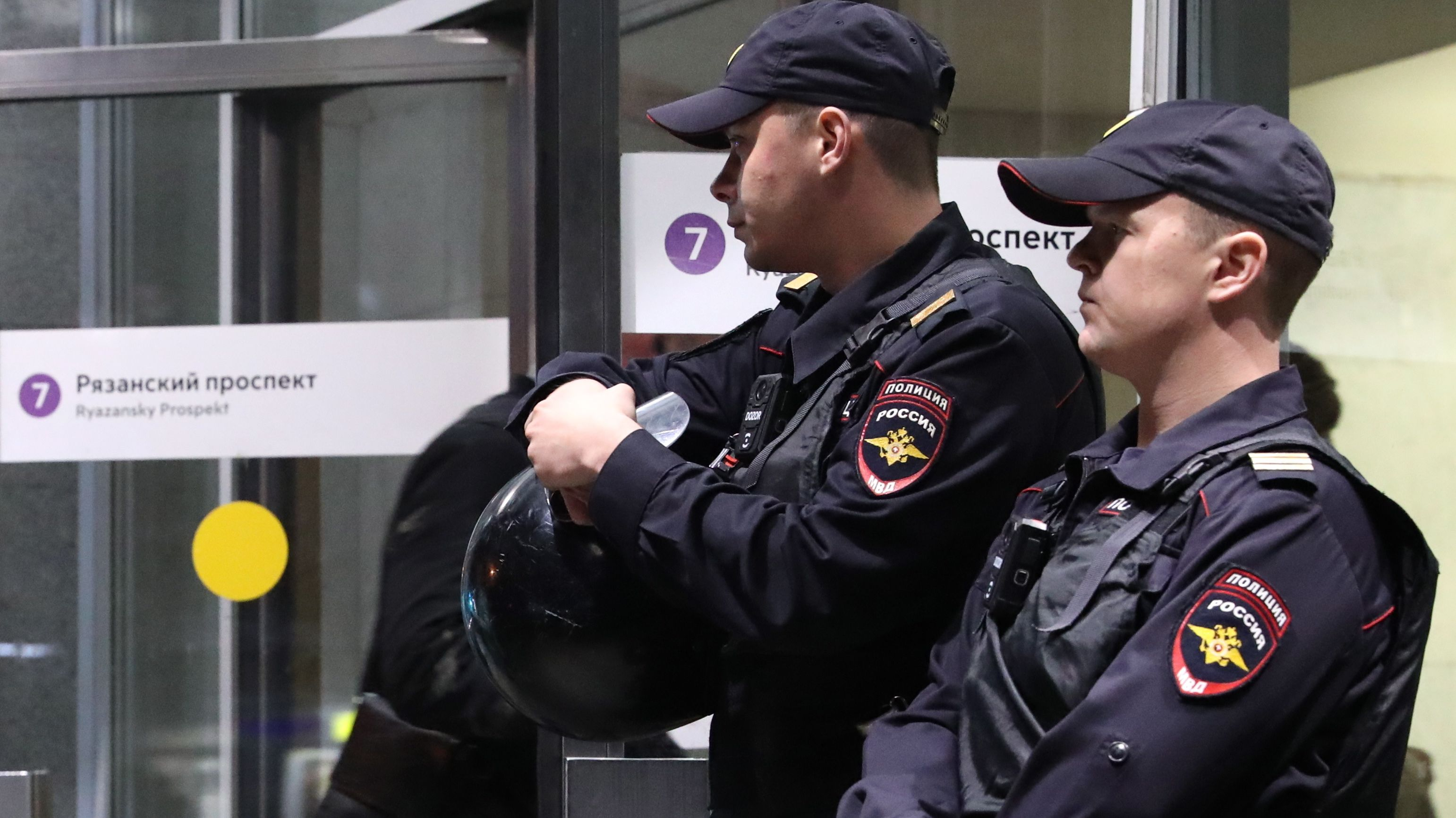 Russicher Polizeikräfte bei Kontrollen
