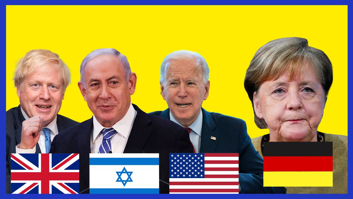 Boris Johnson, Benjamin Netanjahu, Joe Biden und Angela Merkel.