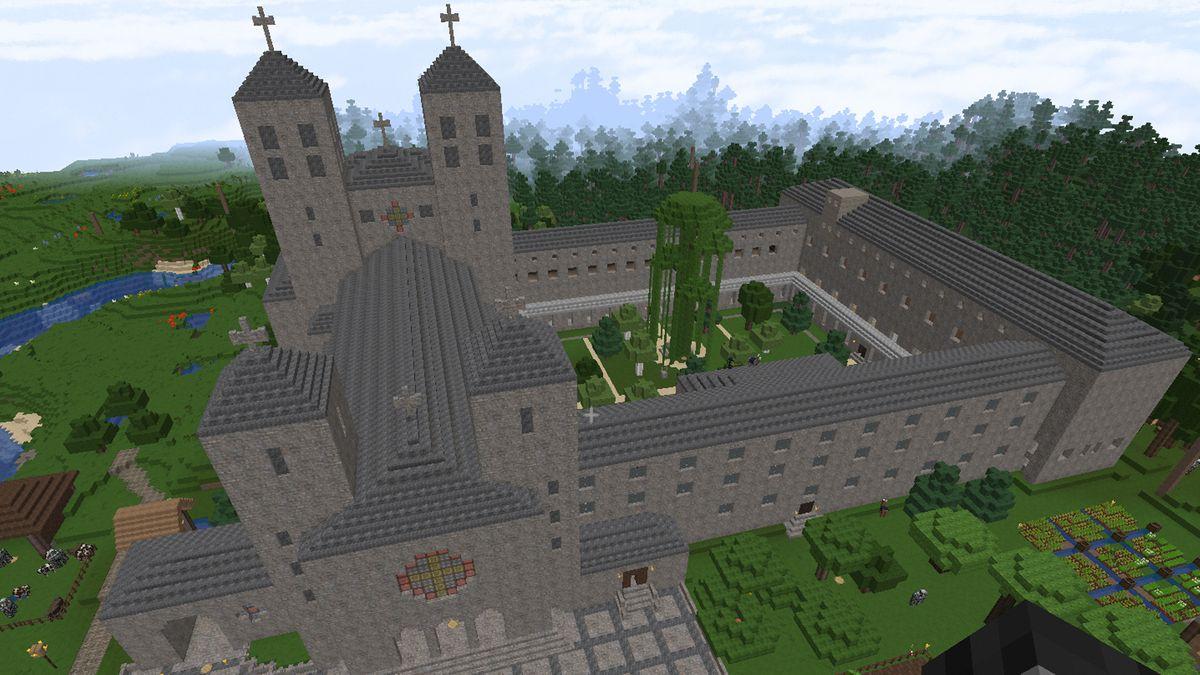 Die Abtei in Münsterschwarzach in Minecraft nachgebaut.