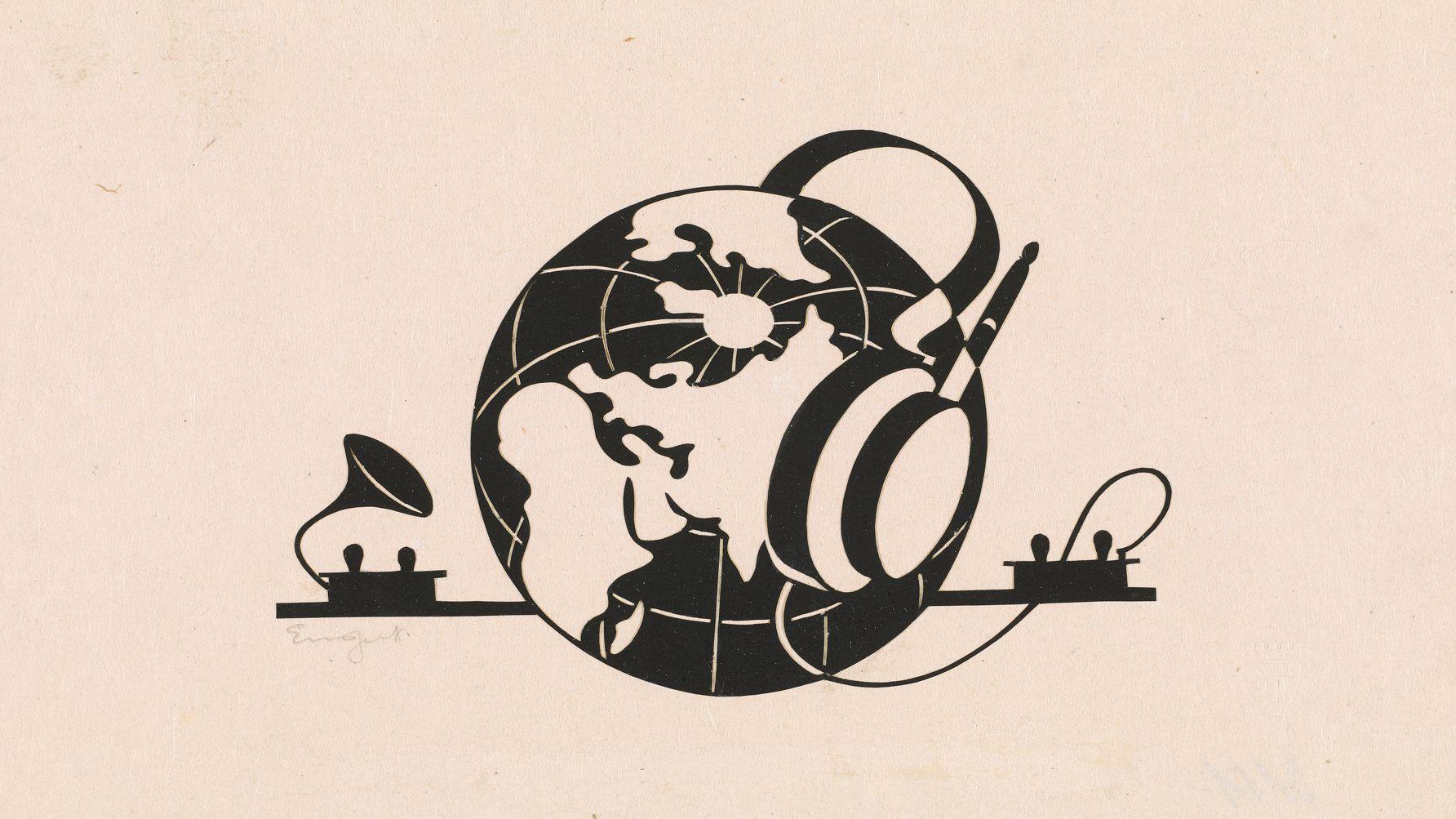 Zeichnung einer Weltkugel die Kopfhörer trägt und ist mit einem grammophonartigen Aparat verbunden.