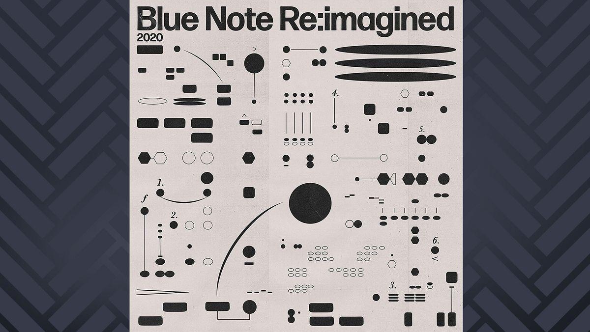 "Cover des Sampler ""Blue Note Re:Imagined"": schwebende grafische Muster auf hellem Grund"