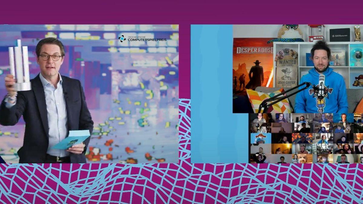 Bundesverkehrsminister Scheuer zeigt Mimimi Computerspiele-Preis