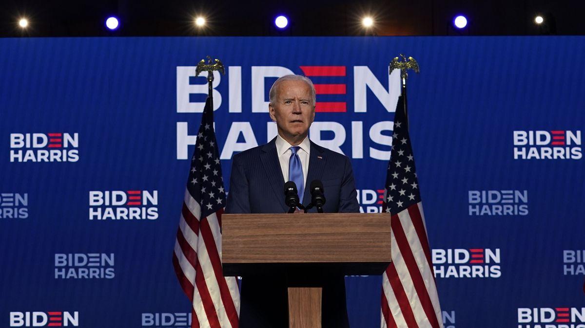 Der Präsidentschaftskandidat der Demokraten, Joe Biden, spricht in Wilmington, im US-Bundesstatt Delaware