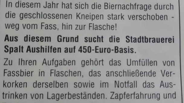 """Ausschnitt aus der Anzeige der Stadtbrauerei Spalt in der Faschingszeitung """"Razet-Bote""""."""