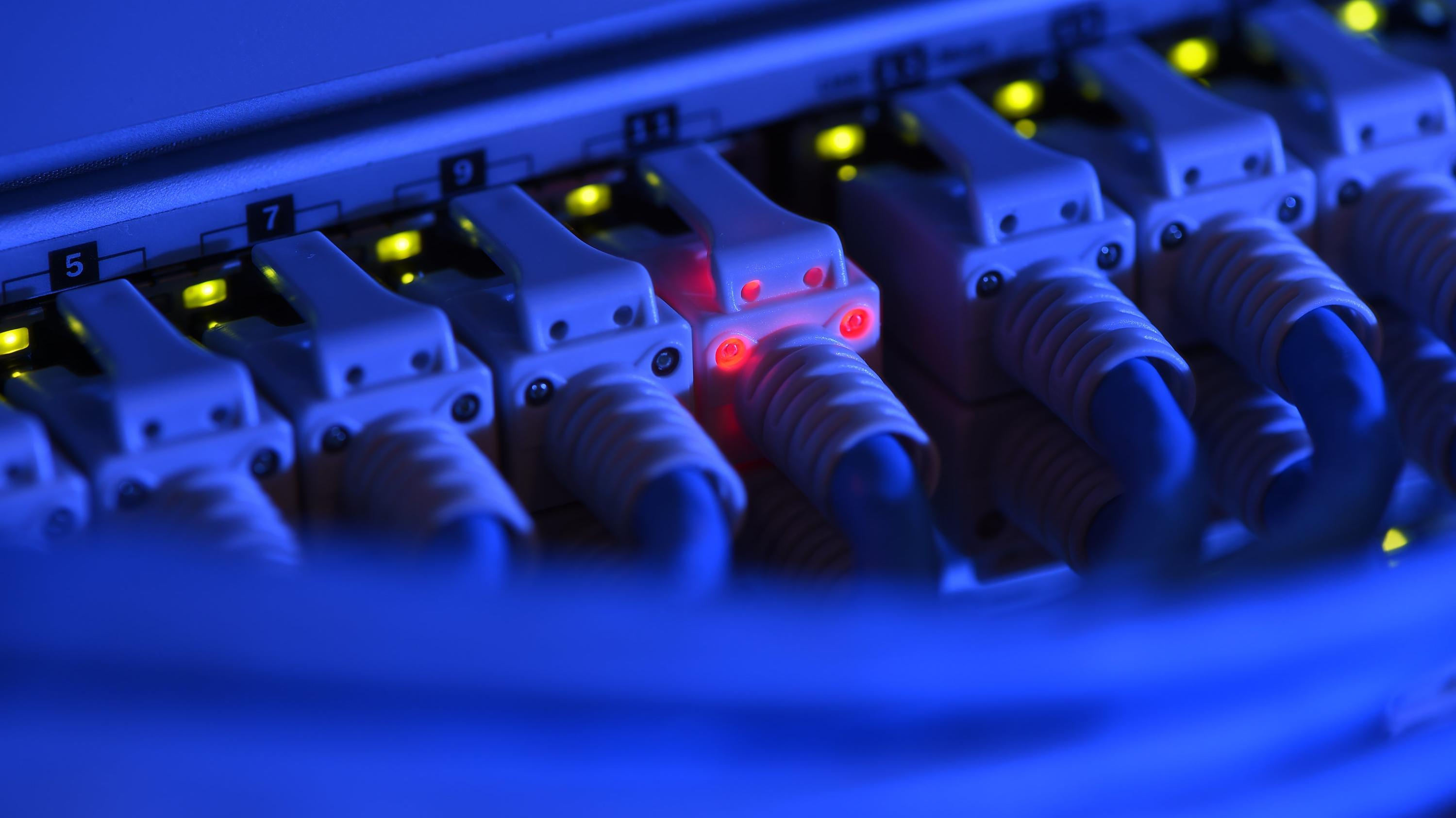 Ein Netzwerk-Kabelstecker leuchtet rot.