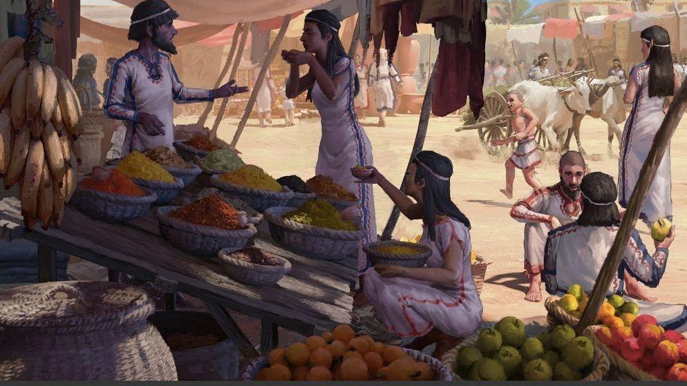 Bronzezeitliche Marktszene an der Levante.