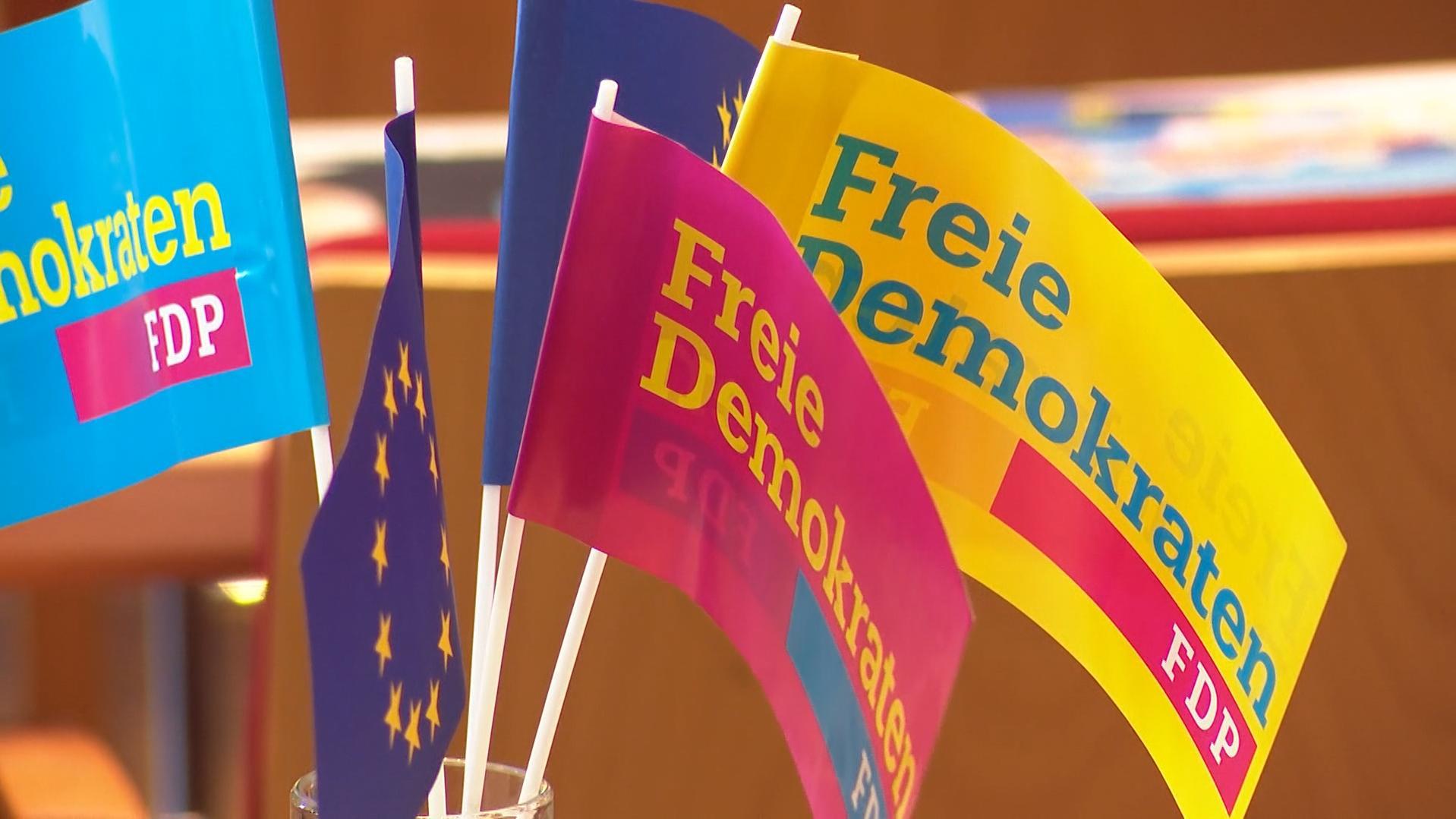 Fähnchen auf dem Landesparteitag der FDP in Amberg