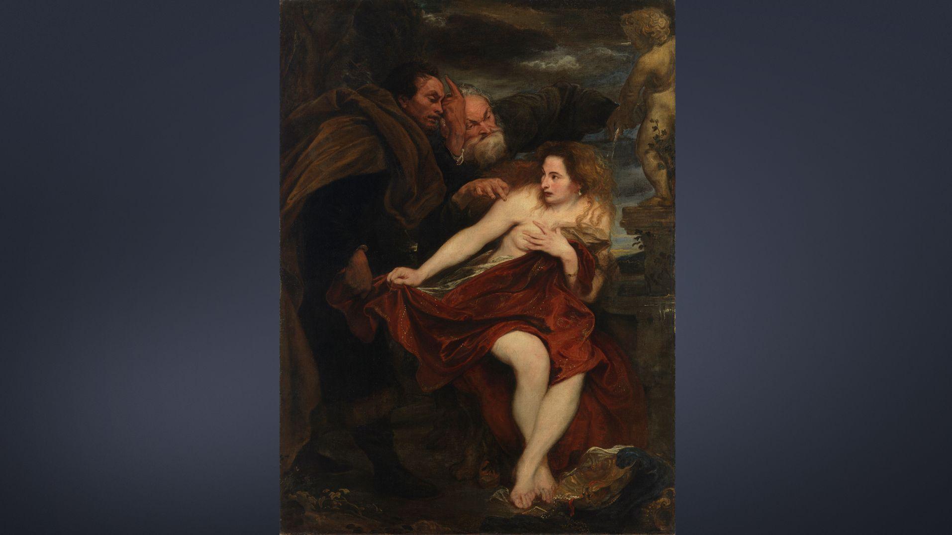 """Gemälde """"Susanna und die beiden Alten"""" von Anthonis van Dyck: Nackte Frau wird von zwei Männern überrascht"""