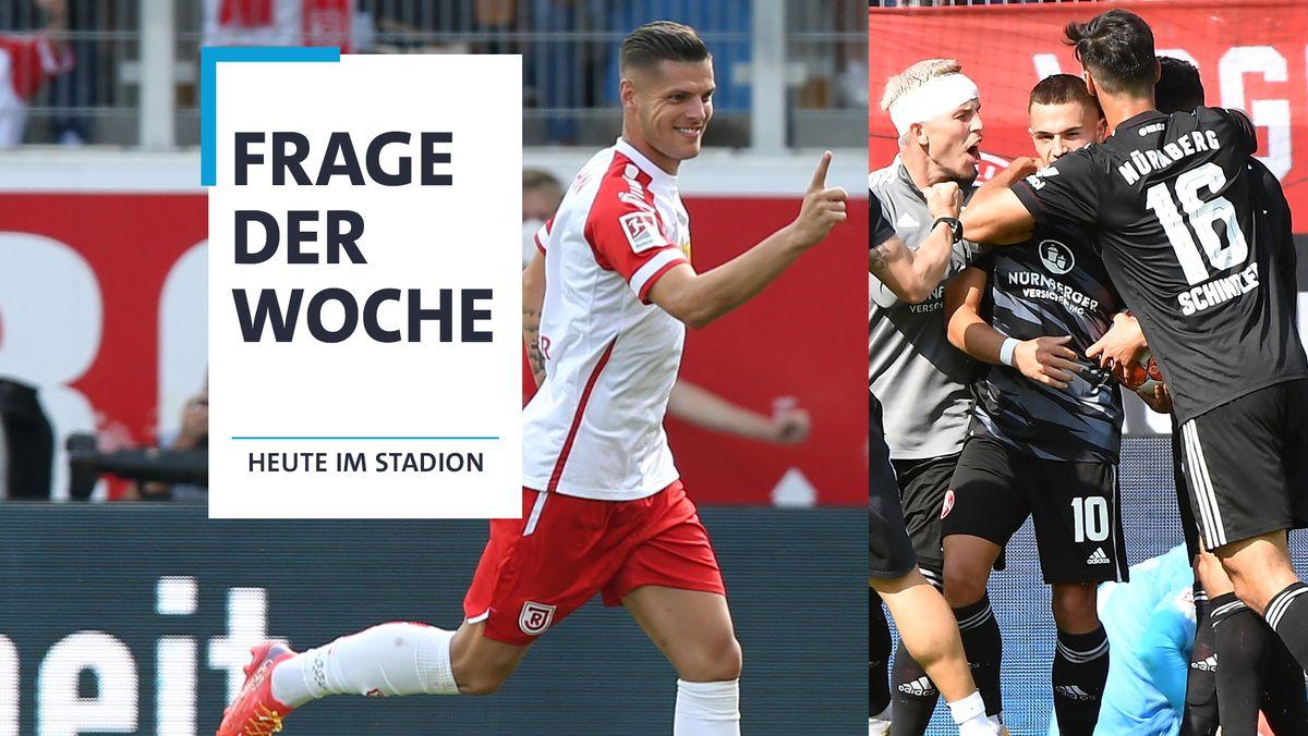 Ab nach oben: Erik Wekesser (l.) vom SSV Jahn Regensburg und die Spieler des 1. FC Nürnberg.