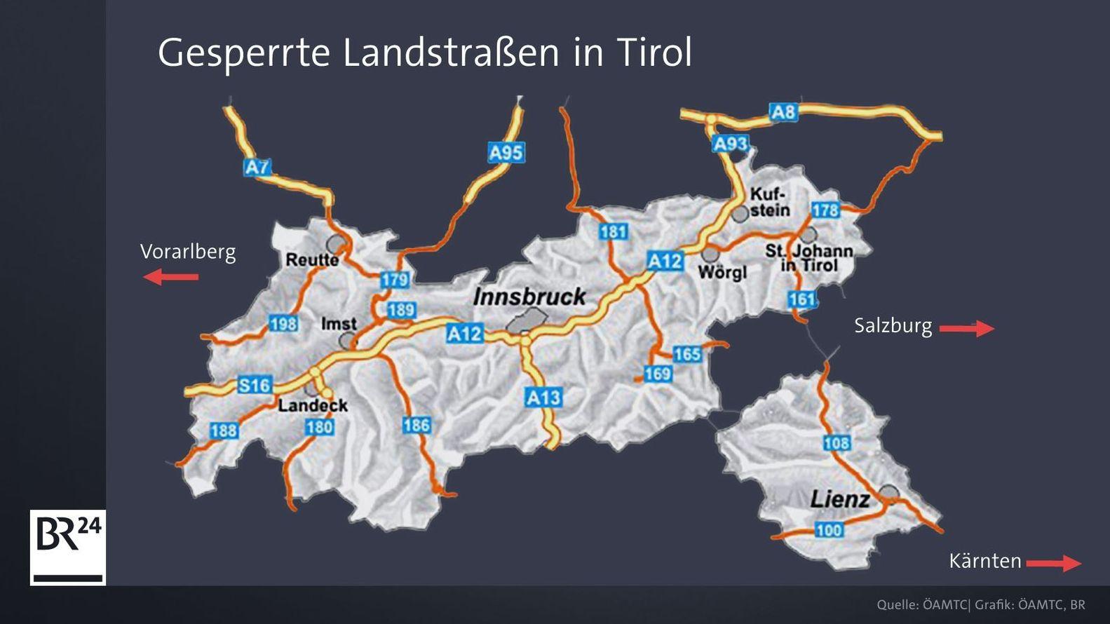 Gesperrte Landstraßen in Tirol  (Stand: Ende Juni 2019)
