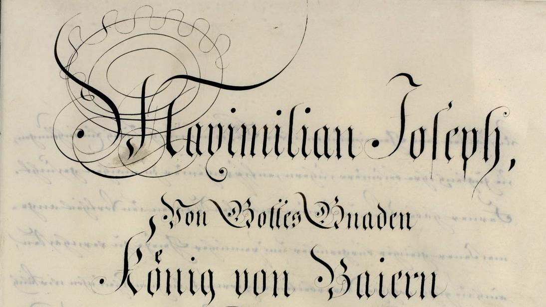 Das handschriftliche Original der Verfassung von 1818 (Ausschnitt der ersten Textseite)