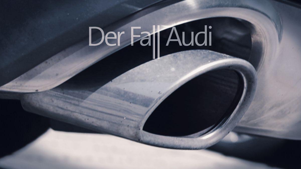 """Der Auspuff eines Audis, darüber steht: """"Der Fall Audi"""""""