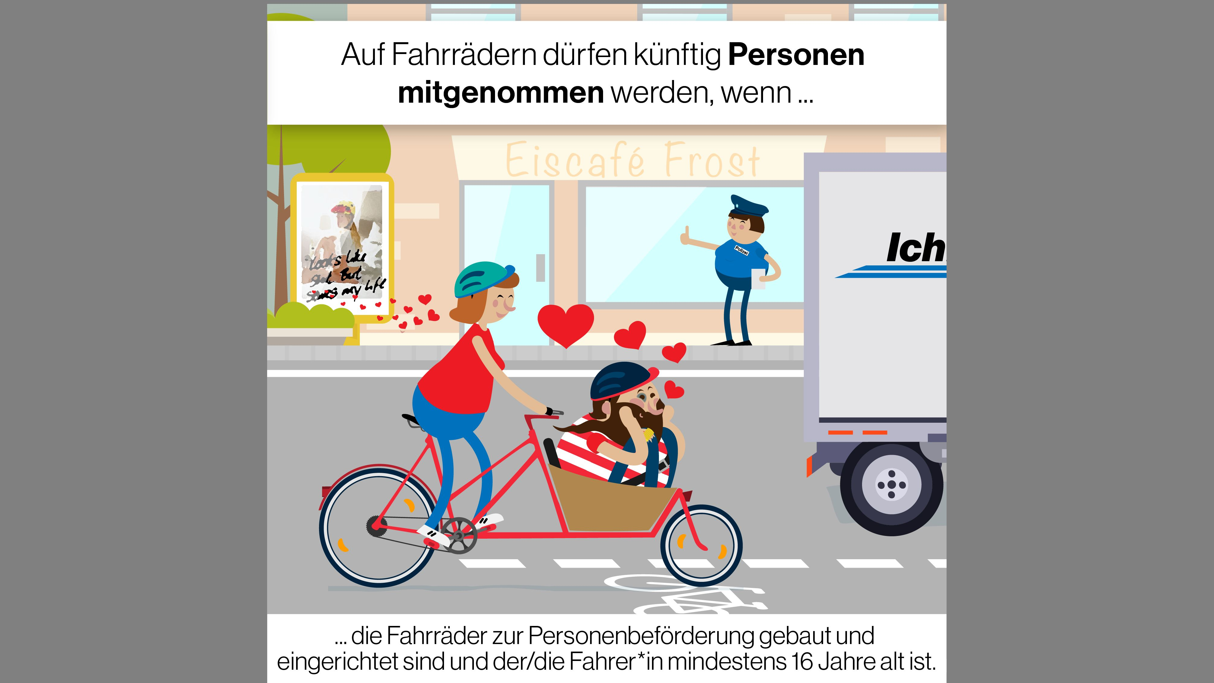 Grafik: Beförderung von Personen auf dem Rad ist unter bestimmten Auflagen möglich.