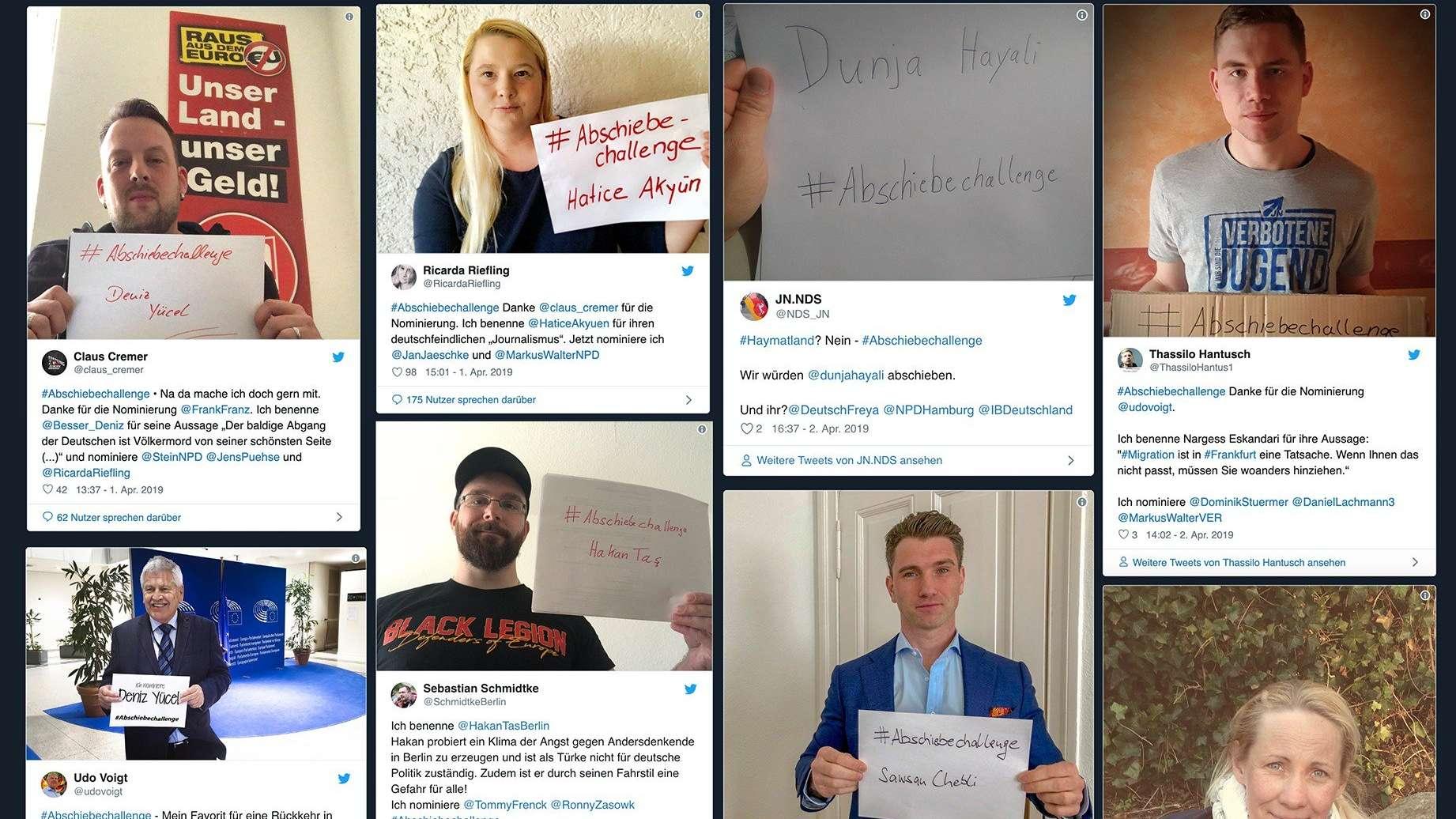 Posts auf Twitter unter dem Hashtag #abschiebechallenge