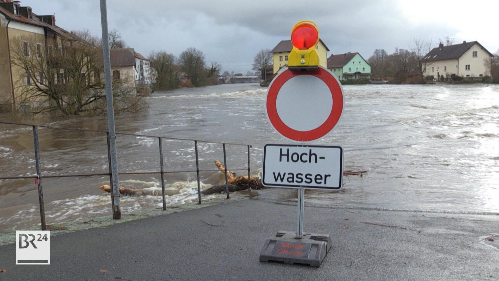 Hochwasser am 24.12.2018 in Cham.