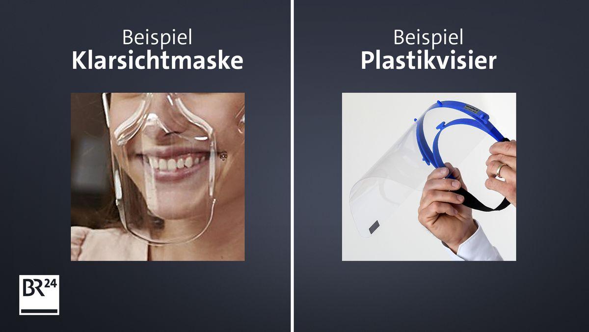 Eine Klarsichtmaske und ein Plastikvisier