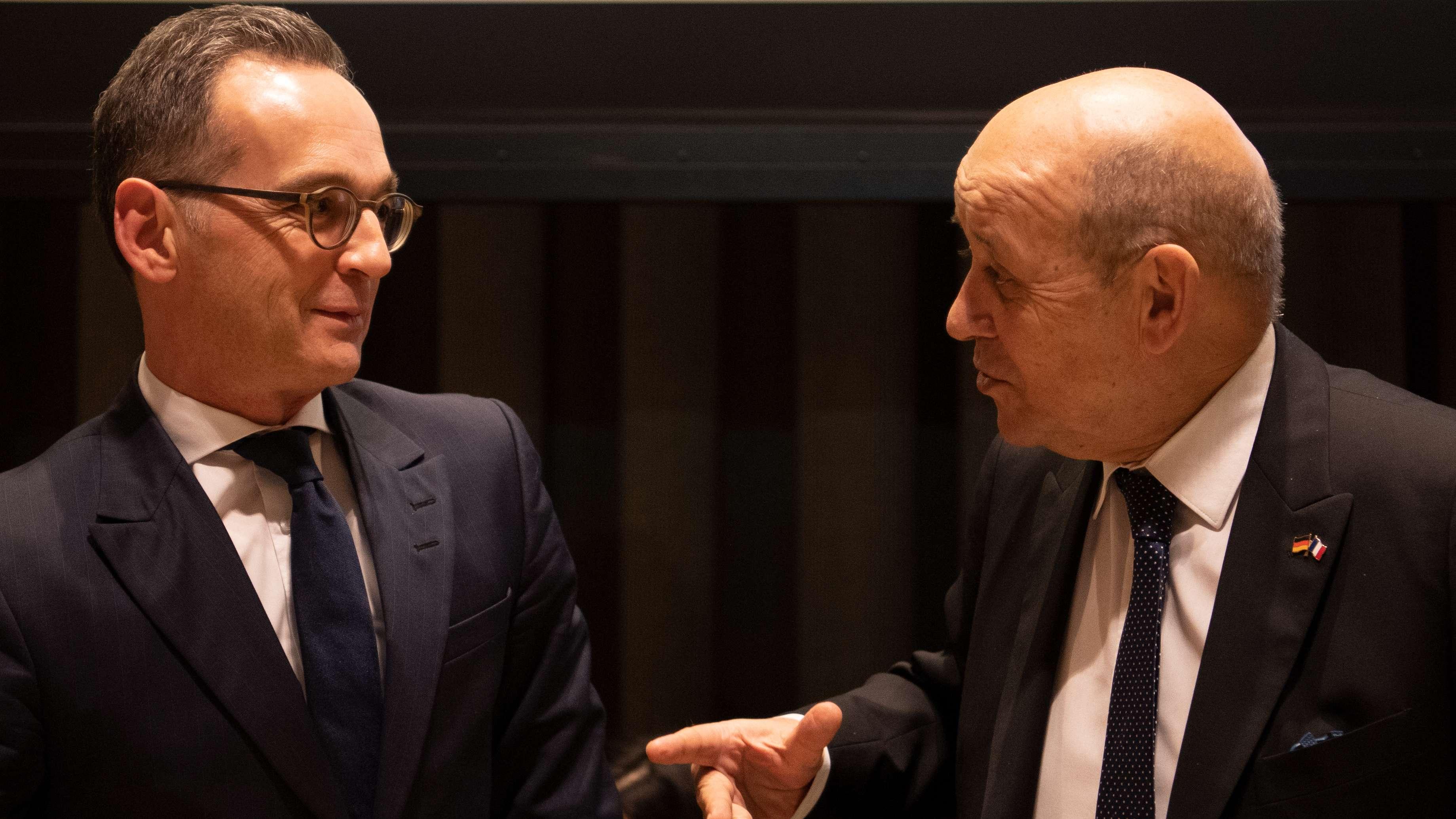 Heiko Maas (SPD, links), Bundesaußenminister, mit Jean-Yves Le Drian, französischer Außenminister, im Saal des Sicherheitsrates der UN